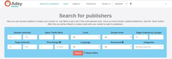 Adsy - Search for Publishers