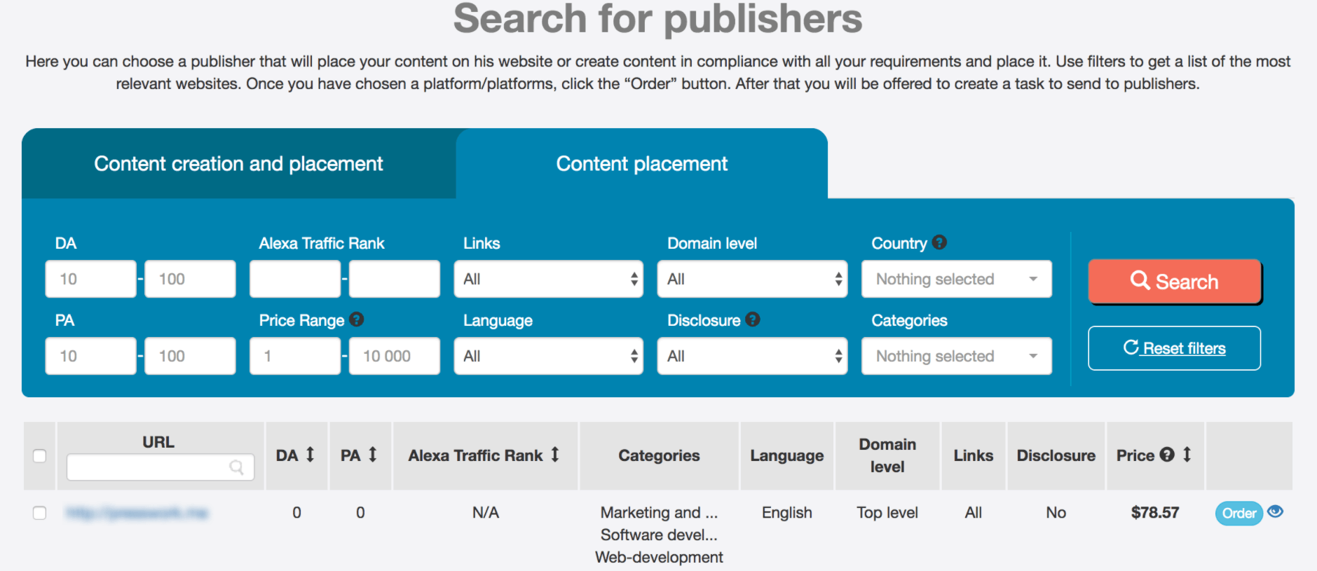 Search for publishers - Adsy