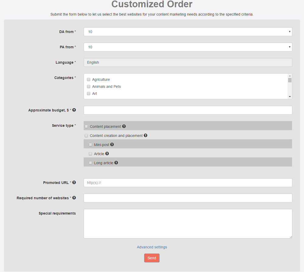 customized order page